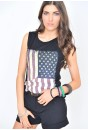 Lily USA Flag Print Vest Top in Black