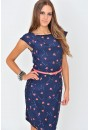 Zoe Heart Print Tailored Dress in Navy