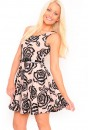Bella Rose Flocking Print Skater Dress in Nude