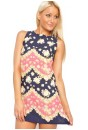 Heather Floral Print Tunic Dress in Navy and Pink