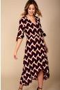 Sienna Geometric Print Midi Dress in Wine