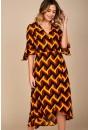 Sienna Geometric Print Midi Dress in Mustard