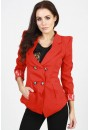 Evelyn Double Breasted Jacket in Red