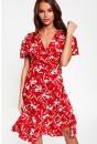 Jelena Floral Print Midi Dress in Red
