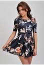 Kayla Floral Mini Dress in Charcoal