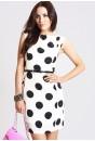Leah Polka Dot Tailored Dress in Cream