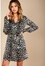 Kim Long Sleeve Shirt Dress in Leopard Print