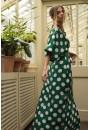Saskia Maxi Dress in Green Polka Dot