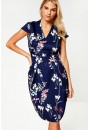 Palma Occasion Midi Dress in Navy Floral Print