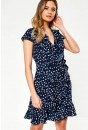 Oxana Printed Midi Wrap Dress in Navy