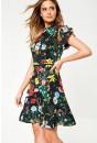 Lucille Short Dress in Black Floral