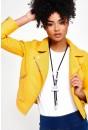 Summer Faux Leather Biker Jacket in Yellow