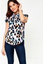 Suzy Frill Neck Top in Pink Animal Print