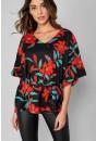 Alexis Short Sleeve Top in Black Floral Print