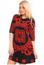 Glen Knit Tunic Dress in Black and Rust