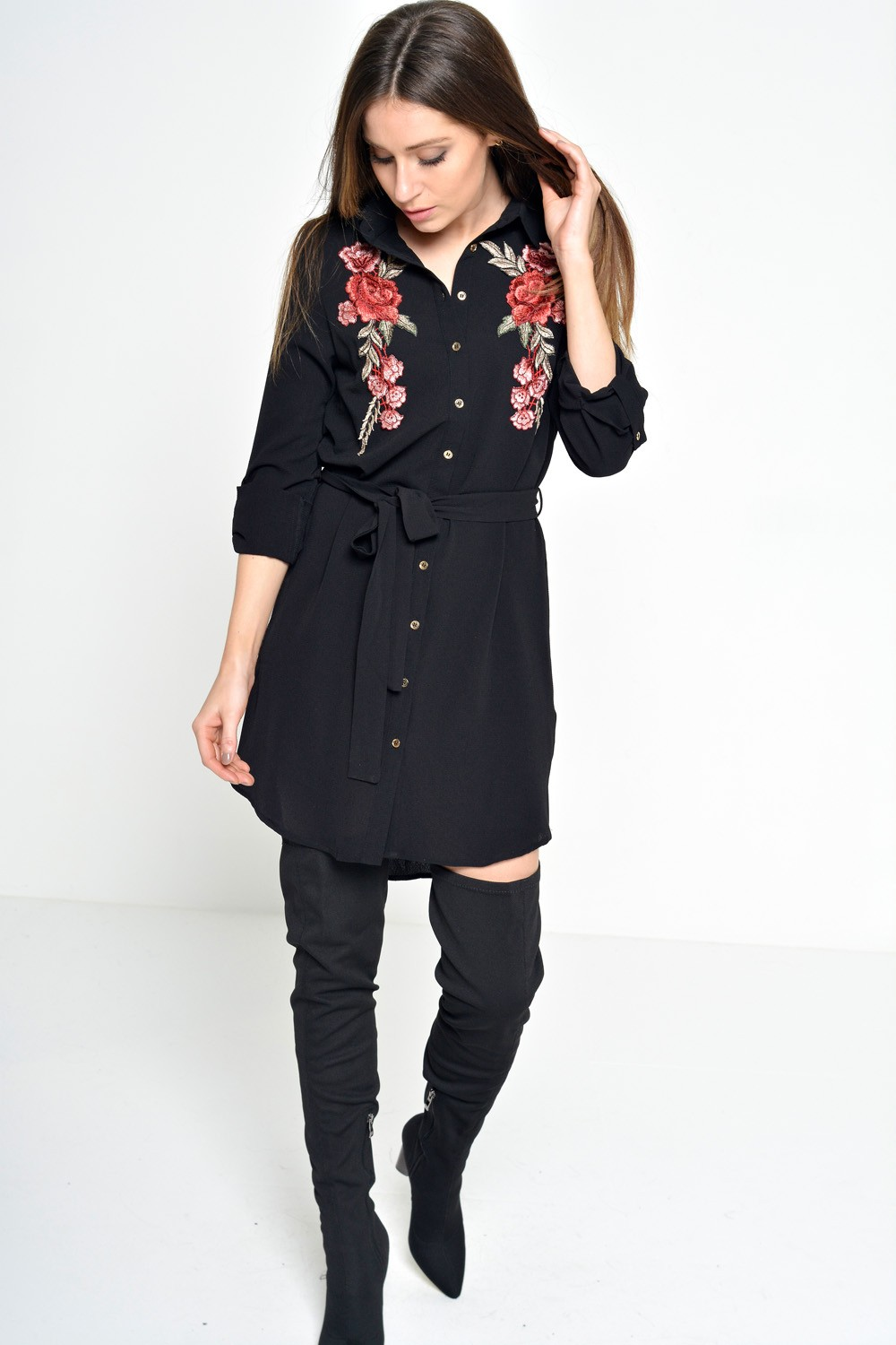 Lara Embroidered Shirt Dress in Black