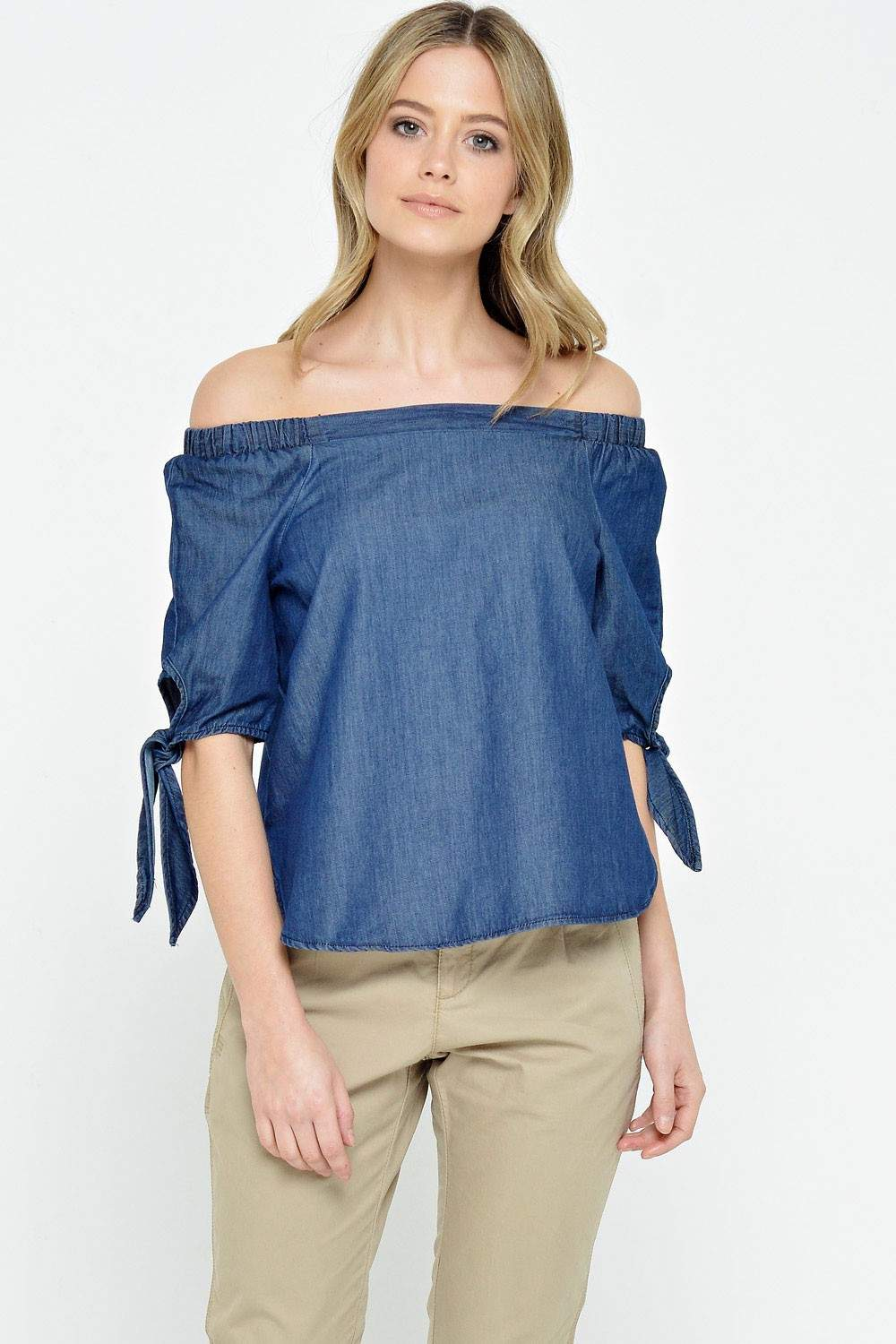 Vero moda emilia 2 4 chambray top in dark blue iclothing for Chambray top