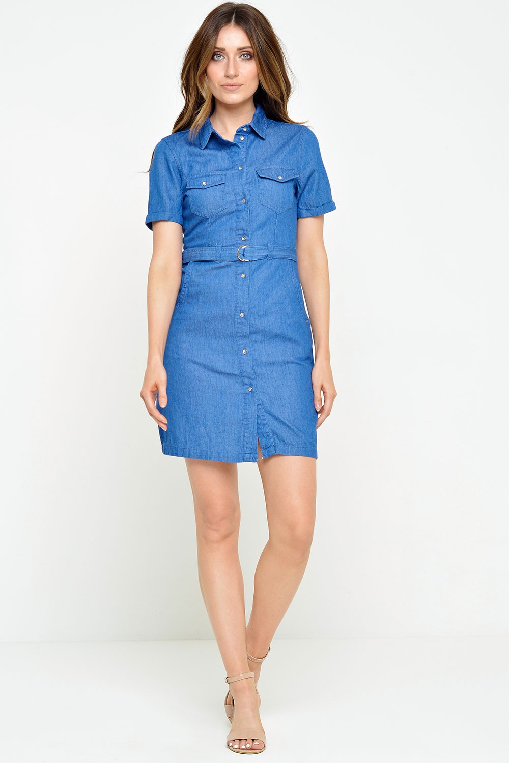 vero moda vera ss denim belt dress in medium blue