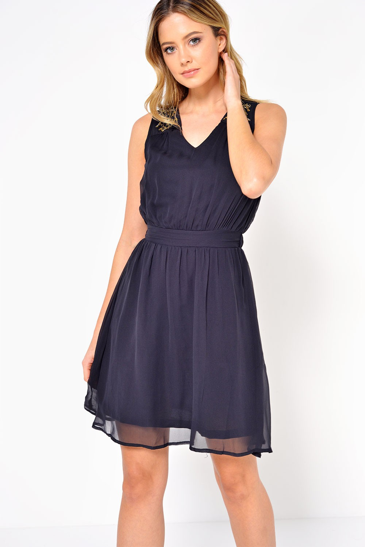 Vero Moda Lollie Bead Short Dress in Black | iCLOTHING