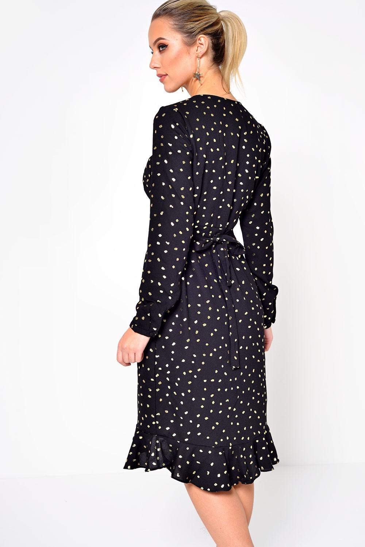 c68d3c1c34d Vero Moda Henna Dot Foil Wrap Dress in Black
