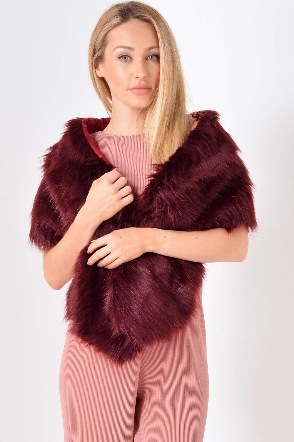 Molly Faux Fur Stole In Burgundy Iclothing