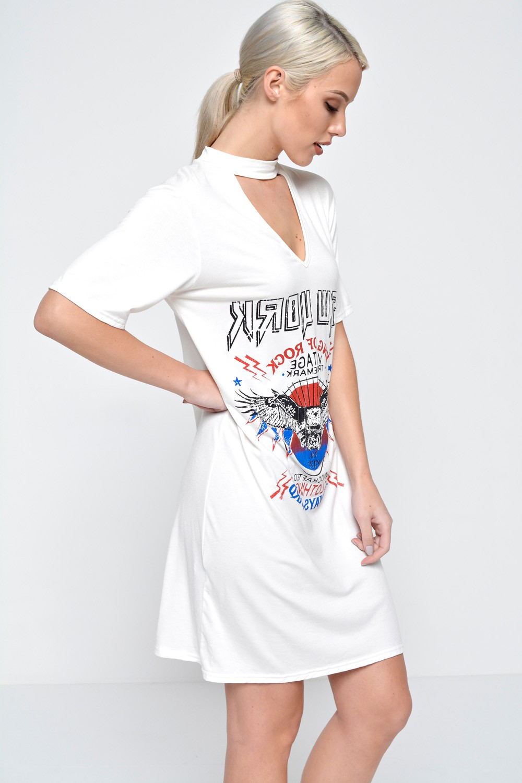 ae0a2c0171d9 Signature Zara Cut Out Neck T Shirt Dress in Cream