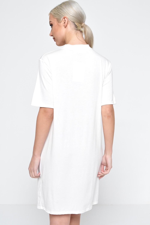 Signature zara cut out neck t shirt dress in cream iclothing for Zara black t shirt dress