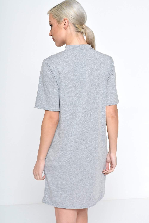 Signature zara cut out neck t shirt dress in grey iclothing for Zara black t shirt dress
