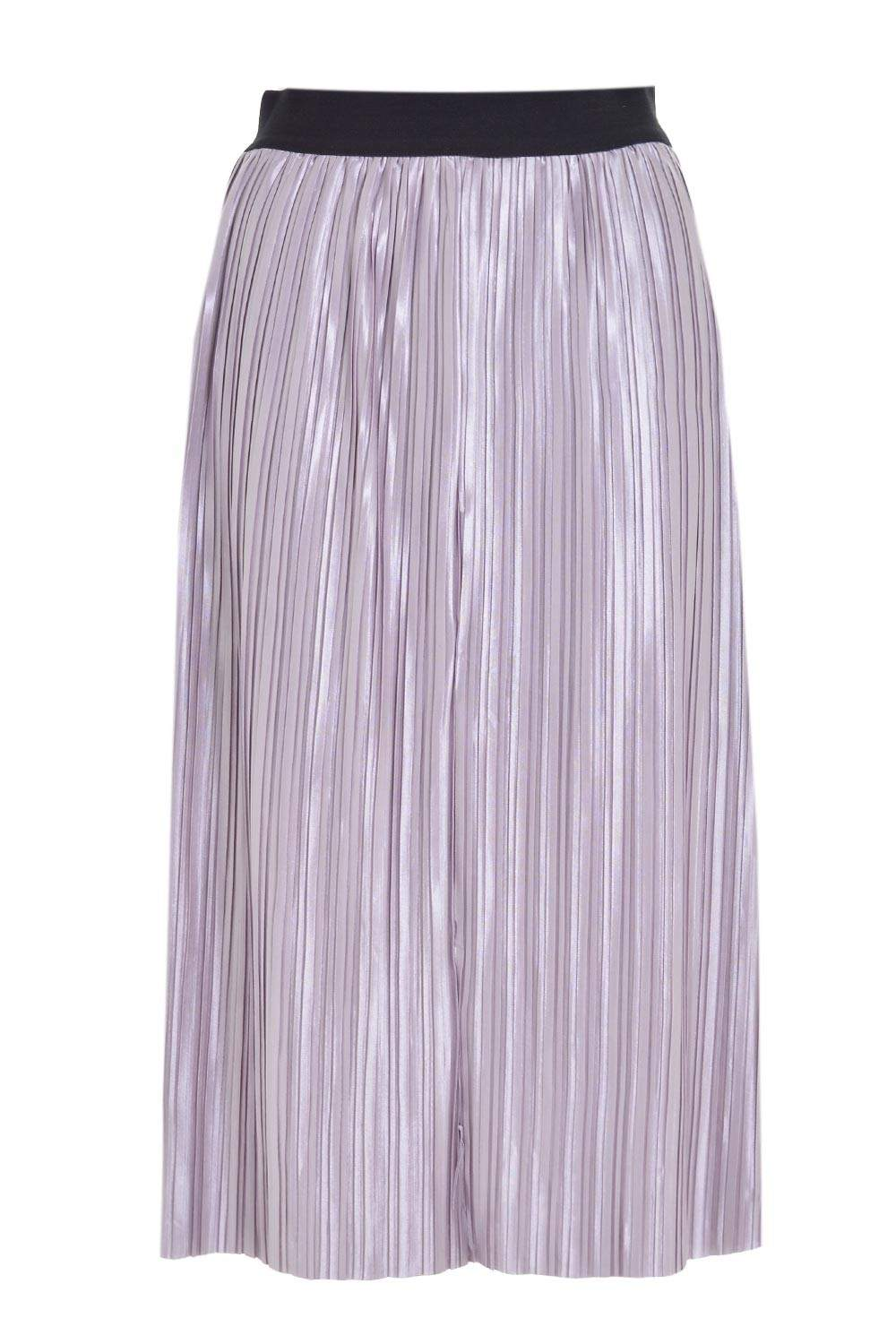 jealousy melody metallic pleated skirt in silver iclothing