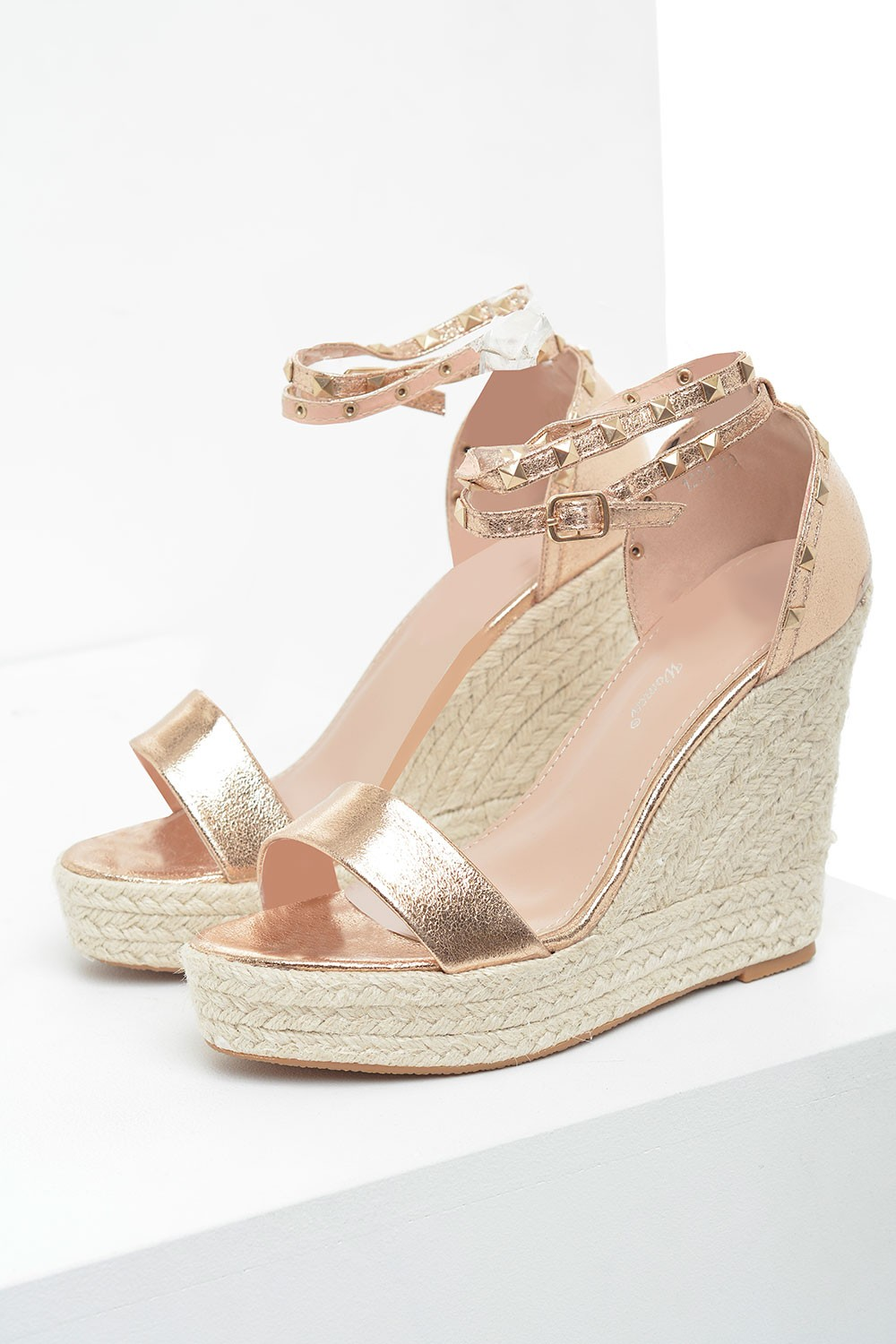 65b1446c7390 More Views. Sandy Studded Espadrille Wedges in Rose Gold