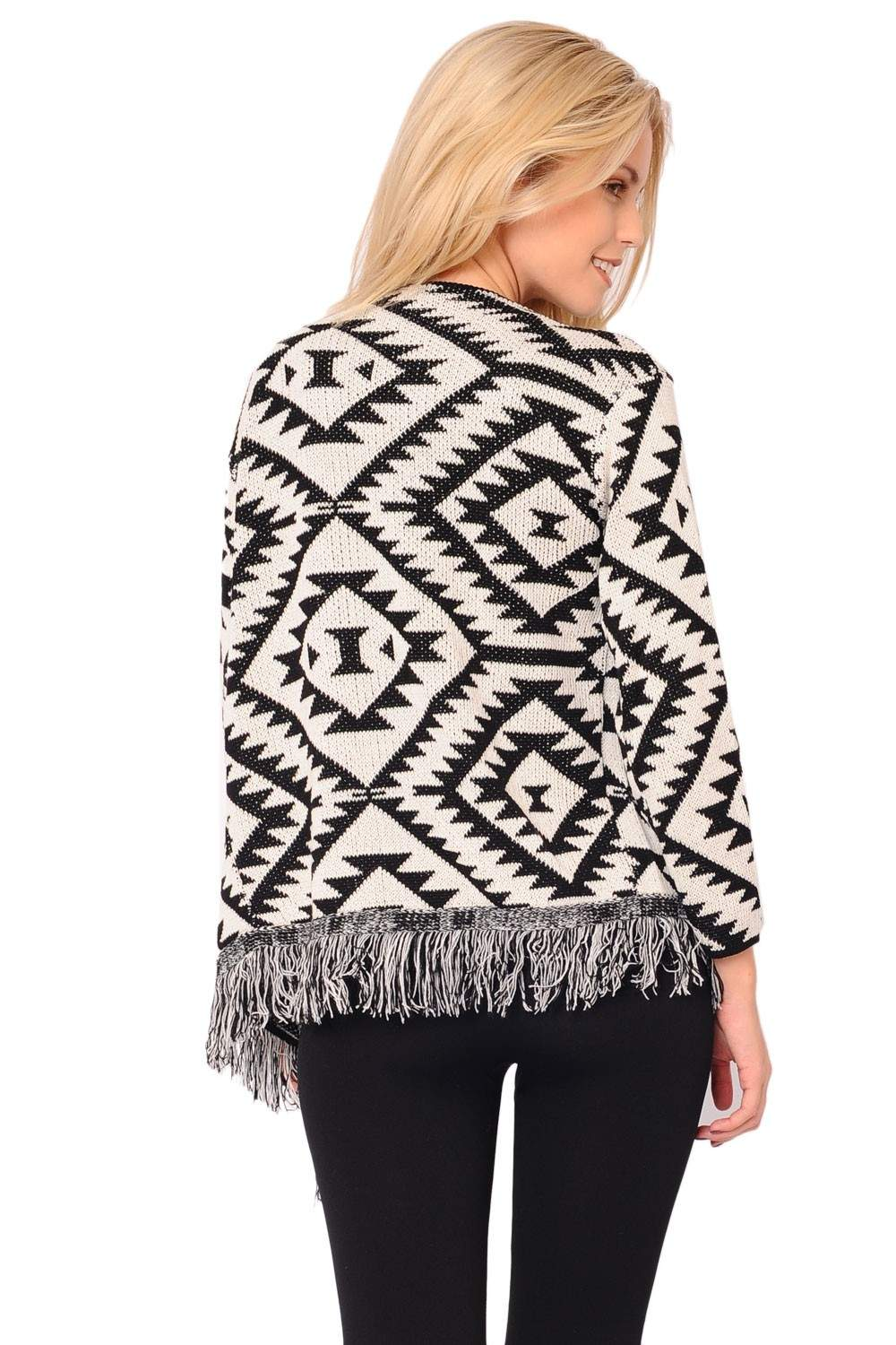 Frankie Aztec Waterfall Cardigan in Black and White | iCLOTHING