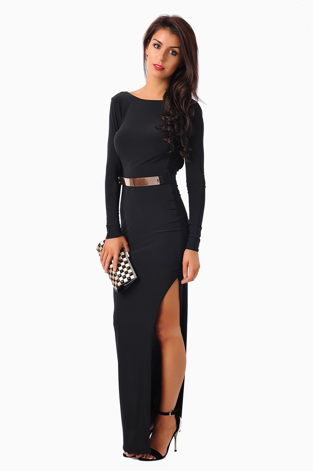 Tammu Back: Tammy Backless High Split Maxi Dress In Black