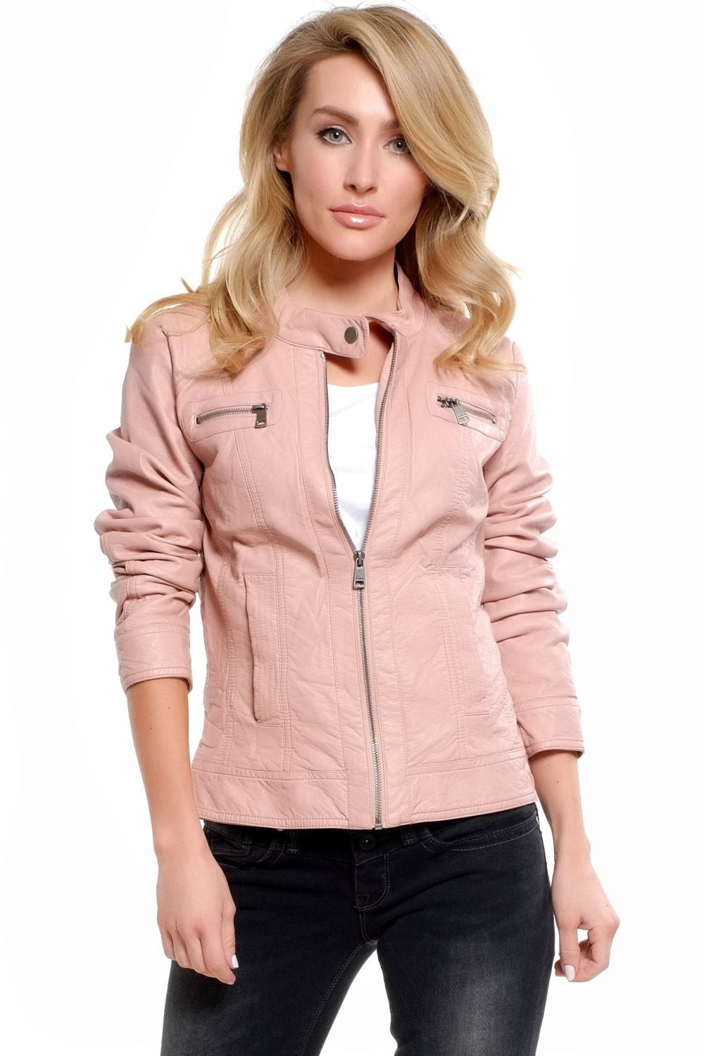 Melanie Faux Leather Jacket in Baby Pink