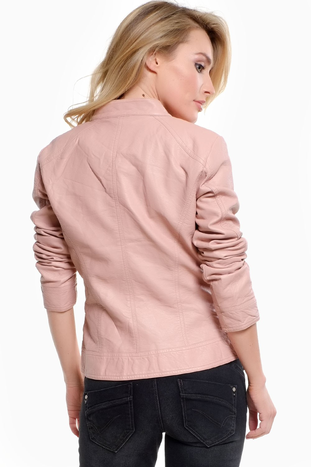 Only Melanie Faux Leather Jacket in Baby Pink | iCLOTHING