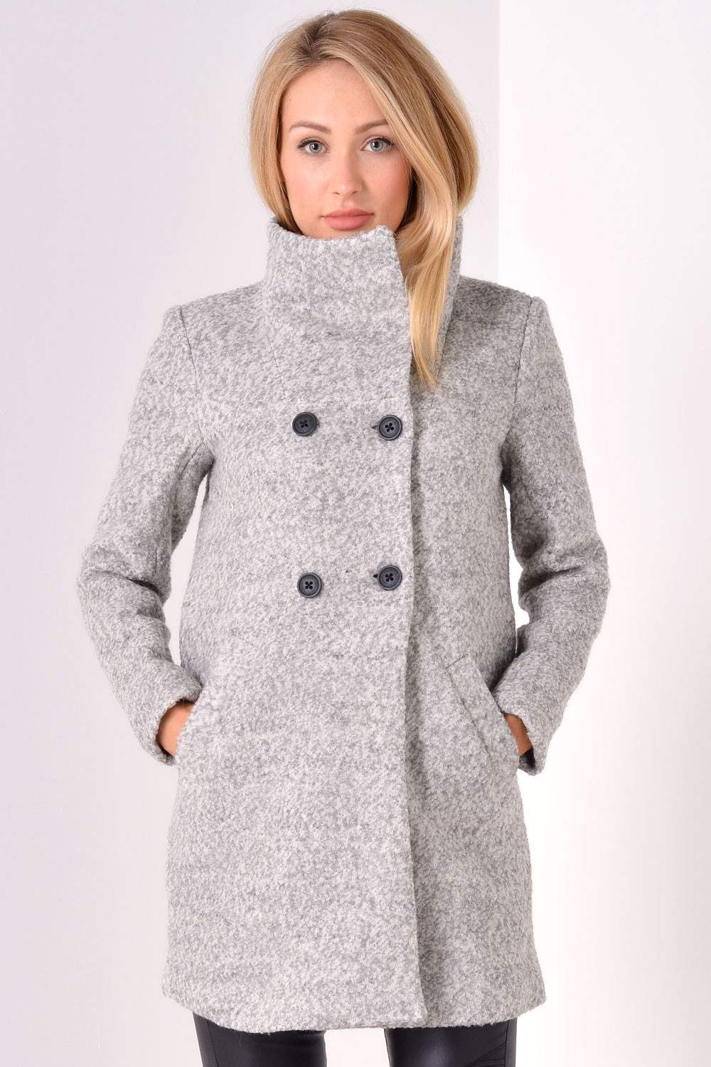 Sophia Wool Coat in Light Grey