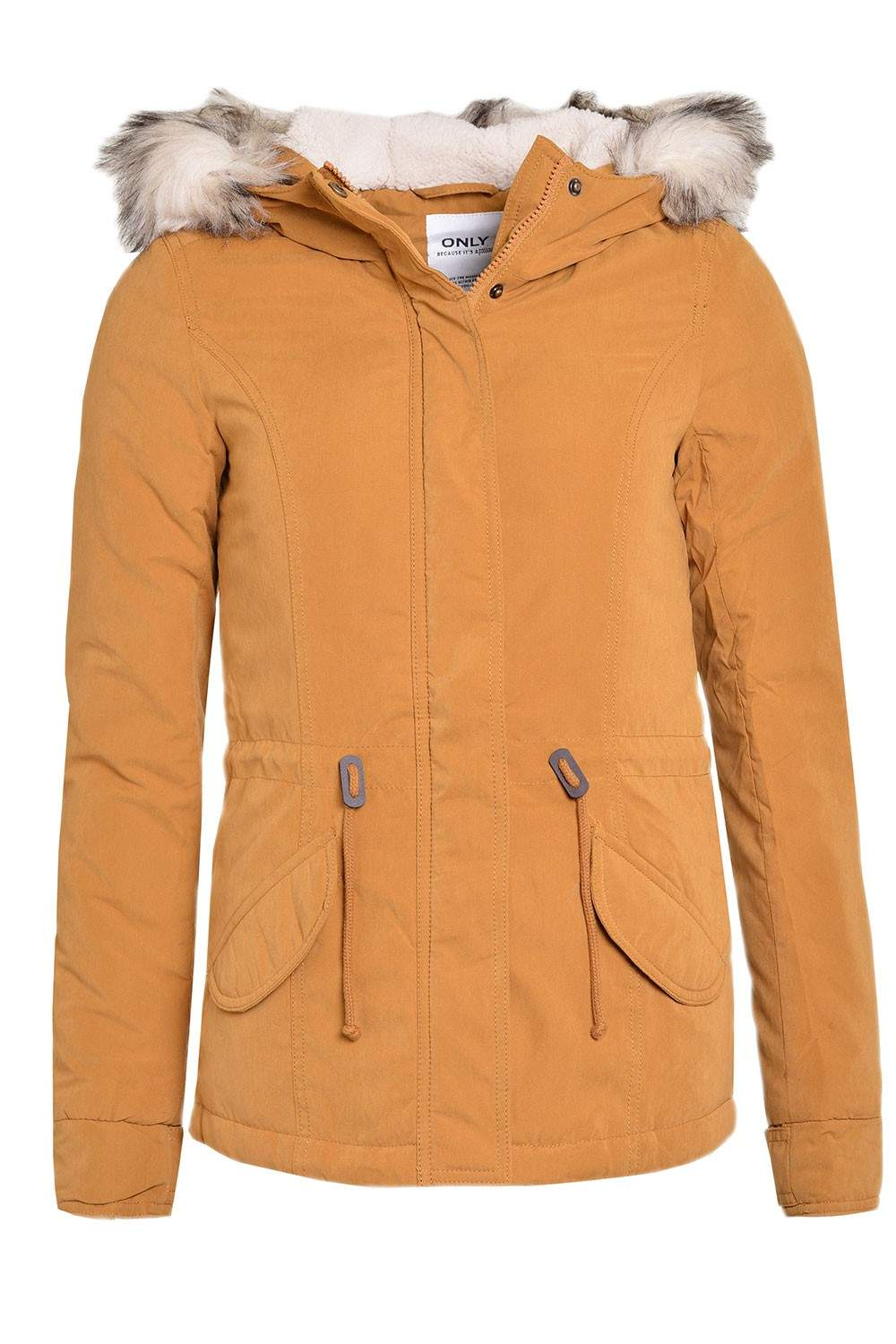 Only Lucca Short Parka Jacket in Mustard | iCLOTHING