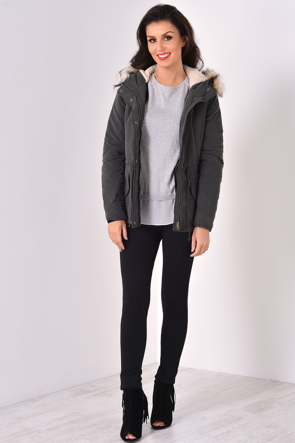 Lucca Short Parka Jacket in Black | iClothing
