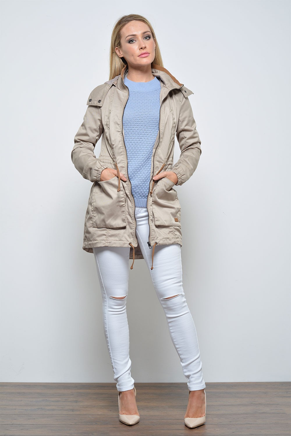Only New Olga Spring Parka Jacket in Simply Taupe | iCLOTHING
