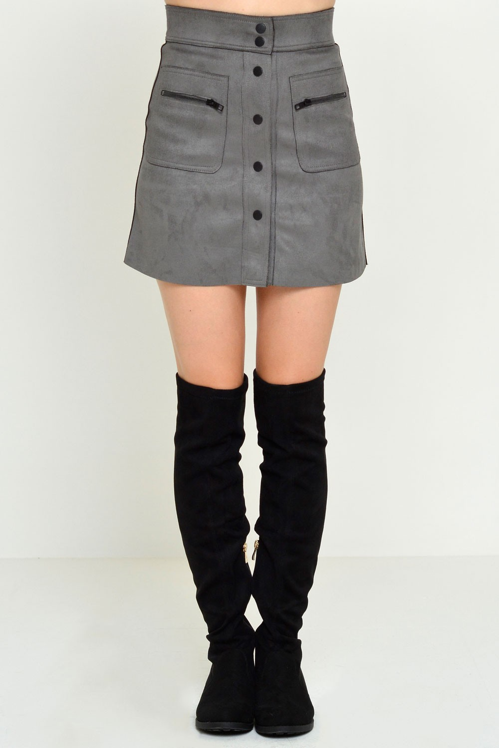 Olivia Bonded Faux Suede Skirt in Grey