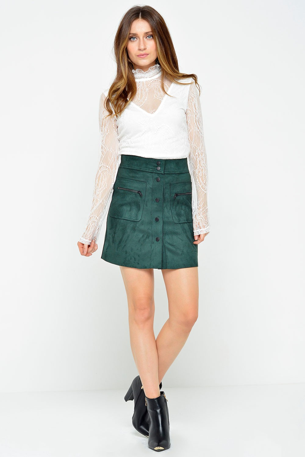 Olivia Bonded Faux Suede Skirt in Green