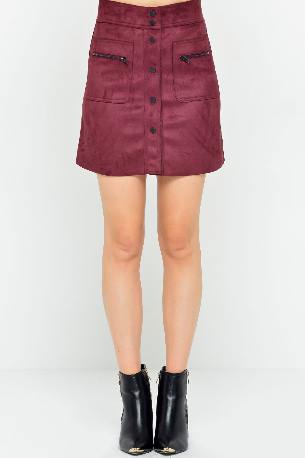 Olivia Bonded Faux Suede Skirt in Burgundy