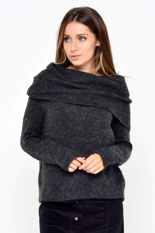 only bergen l s off shoulder pullover in grey iclothing. Black Bedroom Furniture Sets. Home Design Ideas