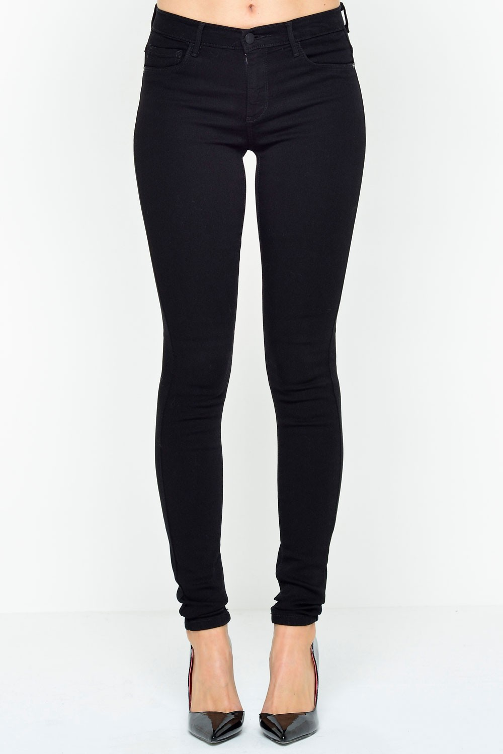 Only - Rain Short Skinny Jeans in Black | iCLOTHING