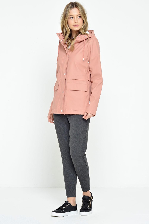 Train Short Raincoat in Rose