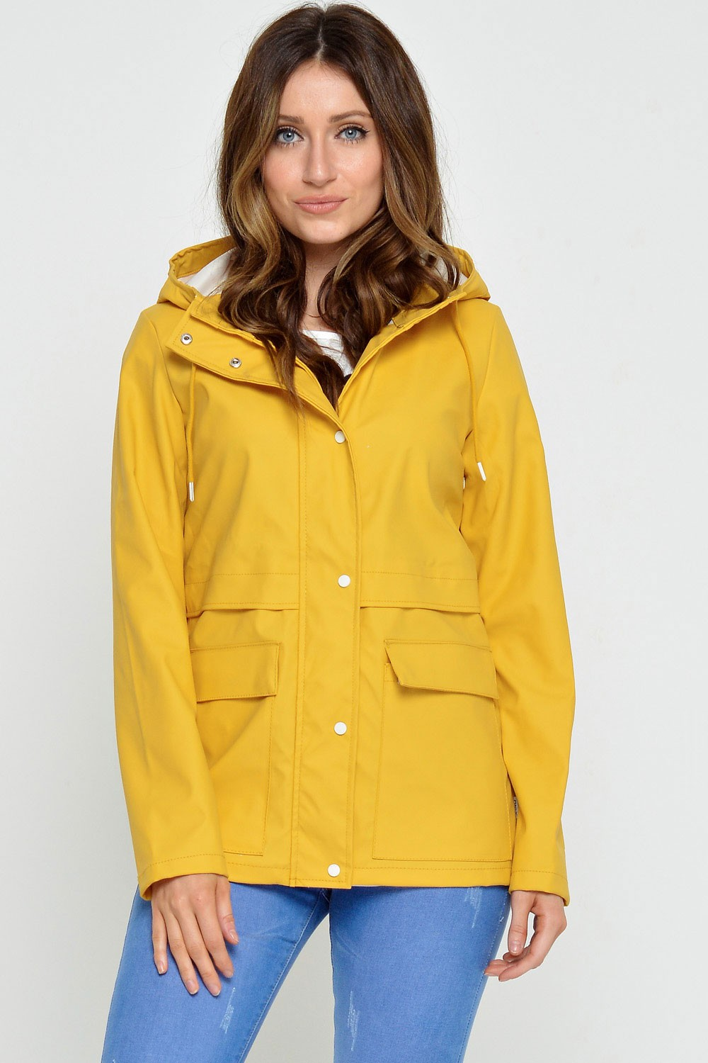 Train Short Raincoat in Yellow