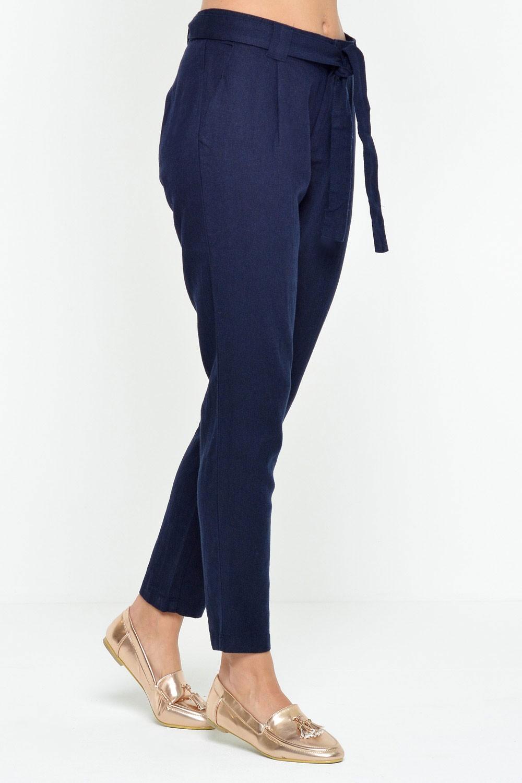 Teal Linen Pants in Navy