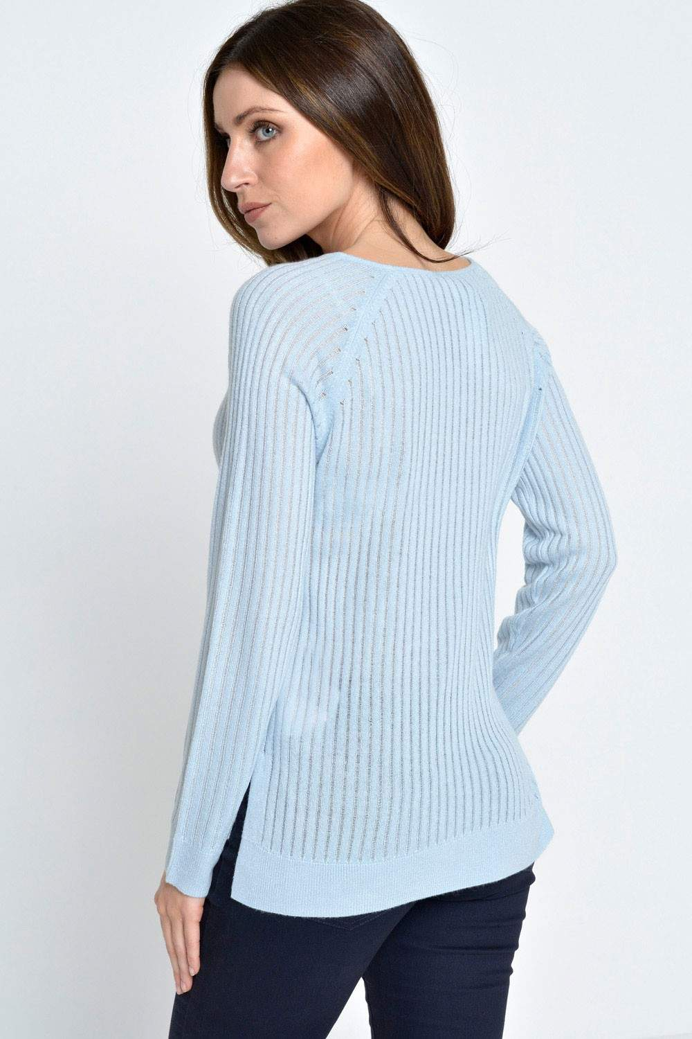 only rose rib l s pullover in baby blue iclothing. Black Bedroom Furniture Sets. Home Design Ideas
