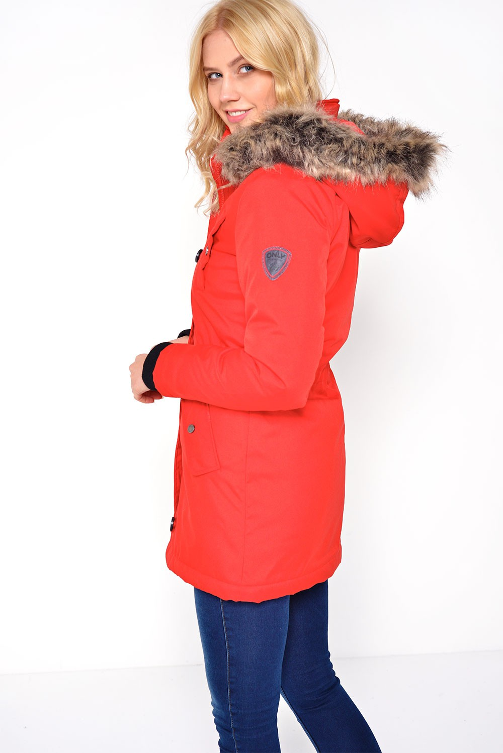 Only Iris Long Parka in Red | iCLOTHING