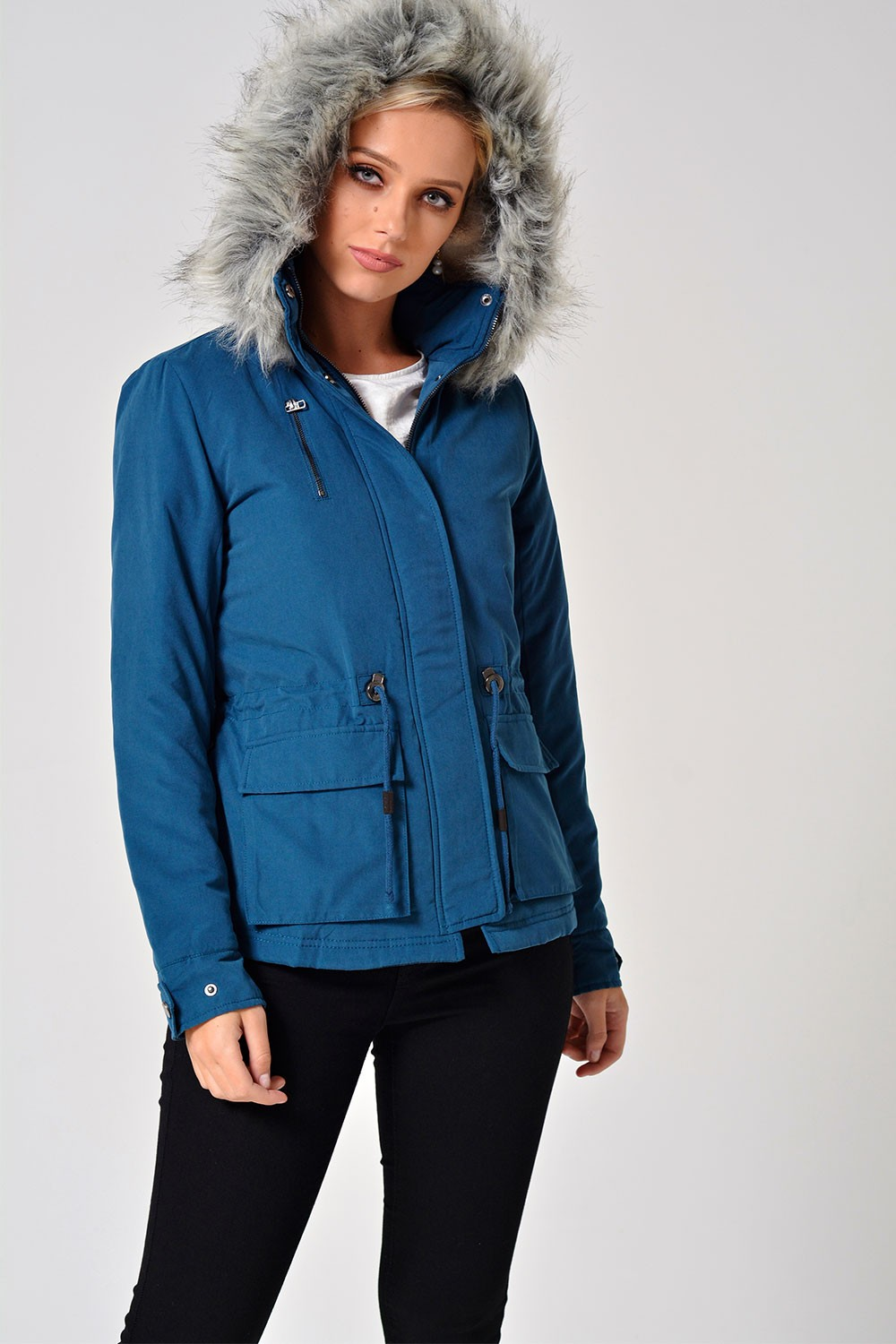 Only Starlight Short Fur Parka Coat in Teal | iCLOTHING