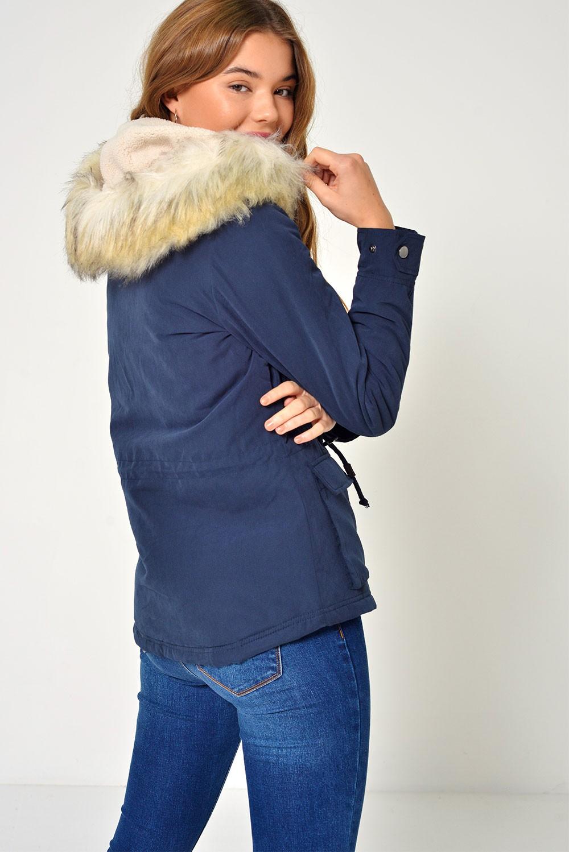 Only Starlight Short Fur Parka Coat in Navy | iCLOTHING